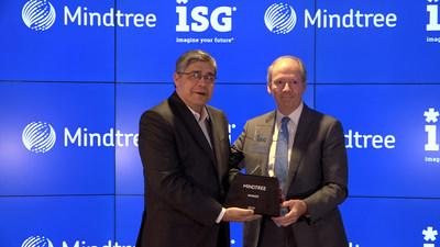 Todd Lavieri (right), vice chairman of Information Services Group, a leading global technology research and advisory firm, presents the ISG Star of Excellence Award to Mindtree CEO Debashis Chatterjee during a ceremony today at Mindtree headquarters in Warren, New Jersey. Mindtree captured the 2019 ISG Star of Excellence Award for the quality of its core technology services based on an ISG survey of more than 1,400 enterprise buyers.