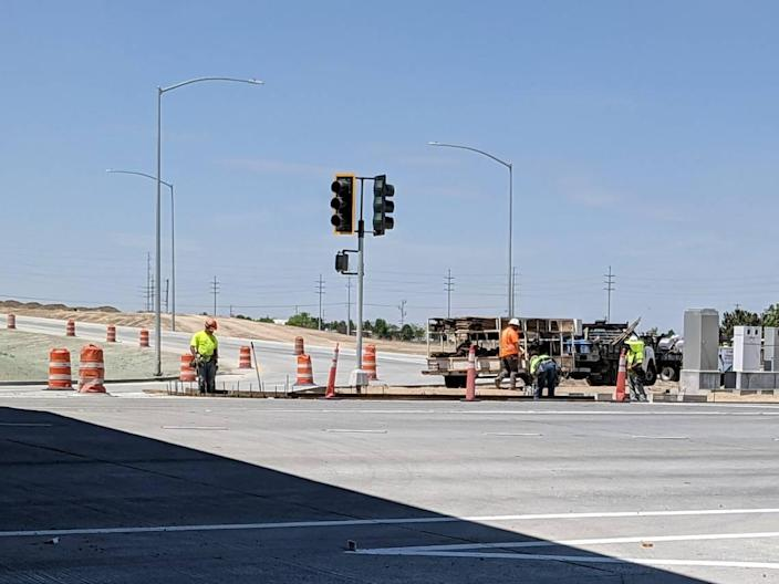 Construction workers on the job May 12 on Northside Boulevard in Nampa. The construction project, part of the state's improvements along I-84 in Canyon County, included rebuilding the Northside interchange.