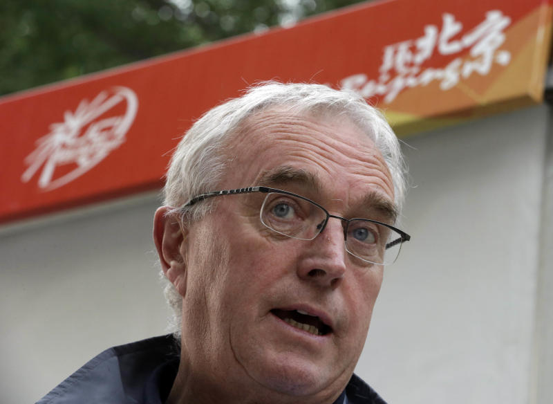 President of the International Cycling Union Pat McQuaid speaks during an interview after the fourth stage of the Tour of Beijing in Beijing, Friday, Oct. 12, 2012. McQuaid has defended his organization's efforts to catch drug cheats in the wake of a damning report on Lance Armstrong's doping practices. (AP Photo/Ng Han Guan)