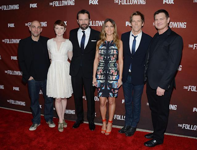 """NORTH HOLLYWOOD, CA - APRIL 29: Marcos Siega, Valorie Curry, James Purefoy, Natalie Zea, Kevin Bacon and Kevin Williamson attend the screening of Fox's """"The Following"""" at Leonard H. Goldenson Theatre on April 29, 2013 in North Hollywood, California. (Photo by Jason Kempin/Getty Images)"""