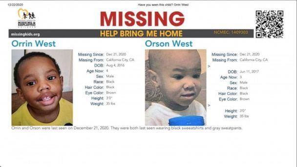 PHOTO: Orson West, 4, and his brother, Orrin, 3, pictured in a poster from the National Center for Missing and Exploited Children, were reported missing on Dec. 21 in California City, Calif. (National Center for Missing and Exploited Children)