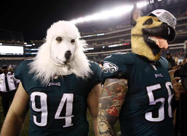 <p>Philadelphia Eagles' Beau Allen and Chris Long celebrate after the NFL football NFC championship game against the Minnesota Vikings Sunday, Jan. 21, 2018, in Philadelphia. The Eagles won 38-7 to advance to Super Bowl LII. (AP Photo/Patrick Semansky) </p>