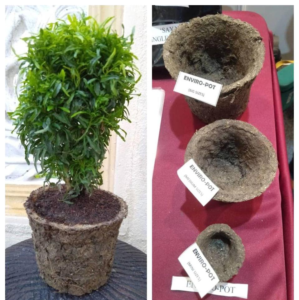 Karthikgesan's winning inventions include his biodegradable pots that come in various sizes. — Picture courtesy of Karthikgesan Santharasekaran