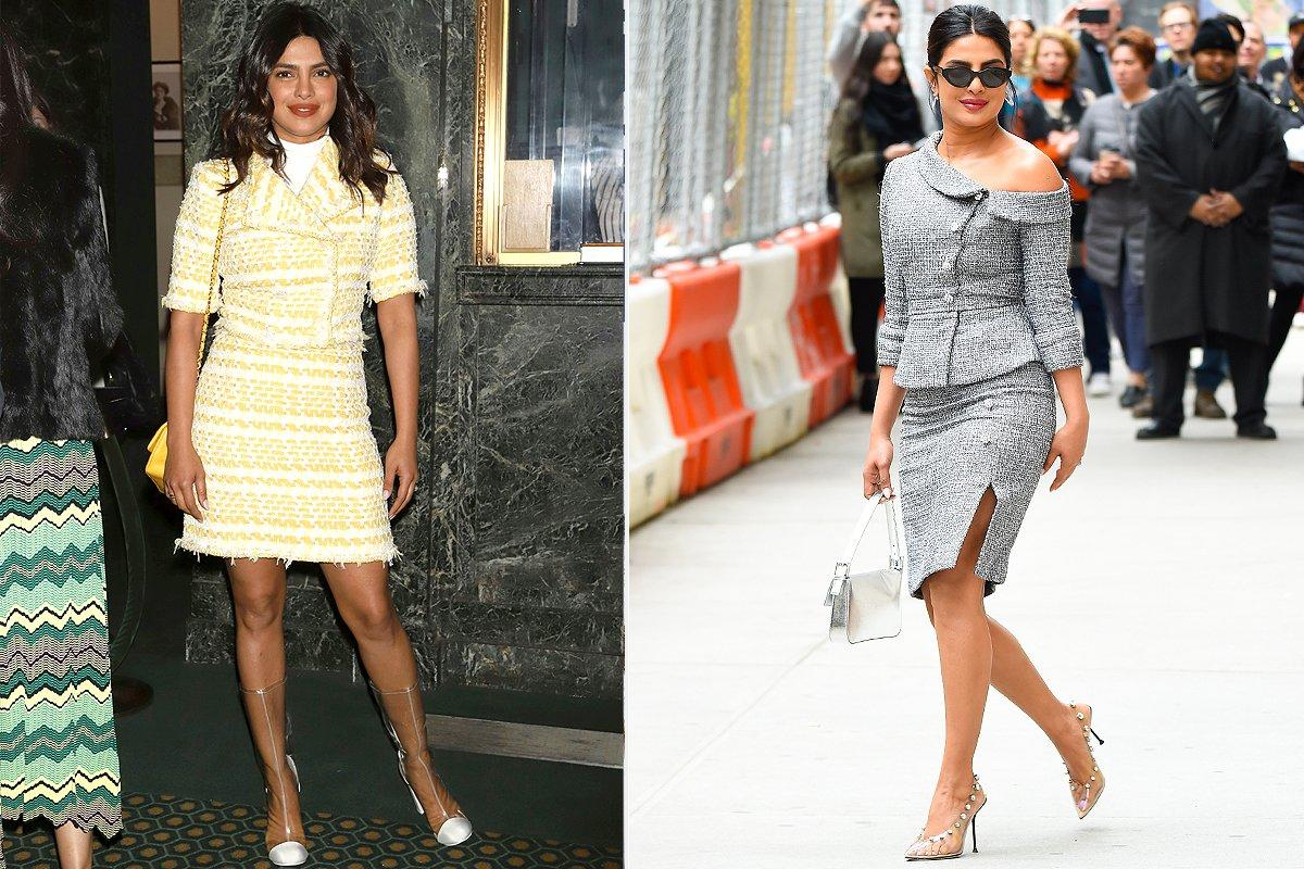 <strong>How to Pull It Off:</strong>  When you think of PVC, you don't necessarily think easy to wear. Which is why we've hand picked the best luxe-looking styles for you to shop and took some notes from Priyanka Chopra on how to wear the trend. Try pairing them with more lady-like fabcris and silhouettes to balance the look, like Priyanka did with her polished tweed sets by Chanel (left) and Ralph & Russo (right).
