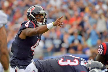 Sep 16, 2018; Nashville, TN, USA; Houston Texans quarterback Deshaun Watson (4) makes the call at the line against the Tennessee Titans during the second half at Nissan Stadium. Tennessee won 20-17. Mandatory Credit: Jim Brown-USA TODAY Sports