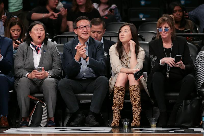 May 9, 2019; New York City, NY, USA; Taiwanese businessman Joe Tsai cheers during the second half of the preseason WNBA game between the New York Liberty and the China National Team at Barclays Center. Mandatory Credit: Vincent Carchietta-USA TODAY Sports