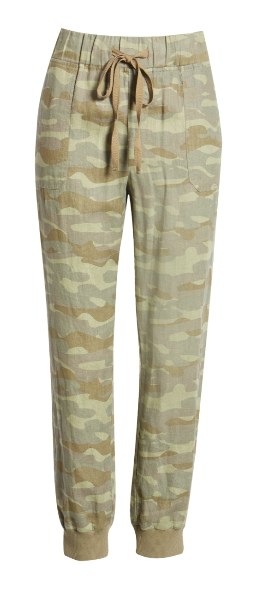 Caslon Linen Jogger Pants in Olive Faded Camo Print
