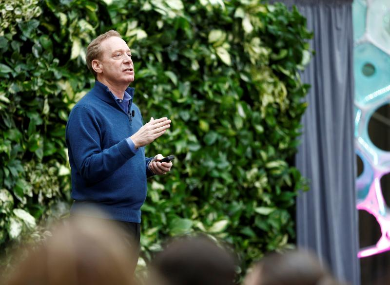 President of Microsoft Smith speaks as the company announces plans to be carbon negative by 2030 and to negate all the direct carbon emissions ever made by the company by 2050 at their campus in Redmond