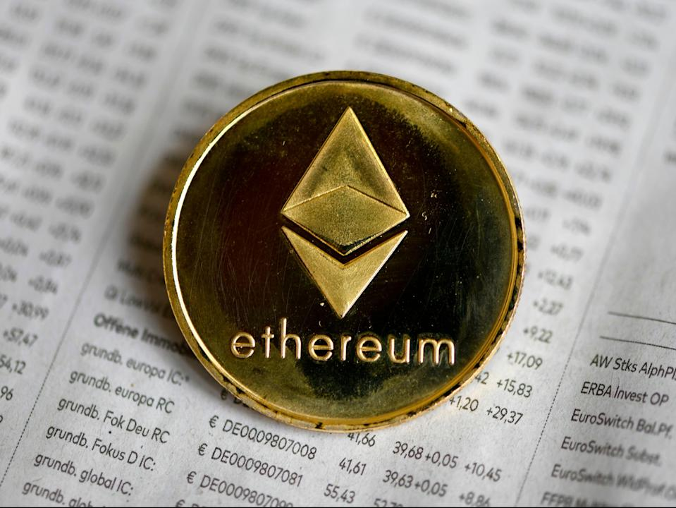 <p>The photo shows a physical imitation of a Ethereum cryptocurrency in Dortmund, western Germany, on 27 January, 2020</p> (AFP via Getty Images)