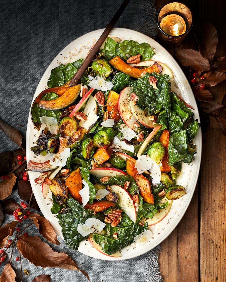 """<p><strong>Recipe: <a href=""""https://www.southernliving.com/recipes/harvest-salad"""" rel=""""nofollow noopener"""" target=""""_blank"""" data-ylk=""""slk:Harvest Salad"""" class=""""link rapid-noclick-resp"""">Harvest Salad</a></strong></p> <p>Crisp apples, fresh Brussels sprouts, and hearty kabocha squash come together to create a delightful, quintessentially fall salad. The maple syrup in the dressing takes it over the top.</p>"""