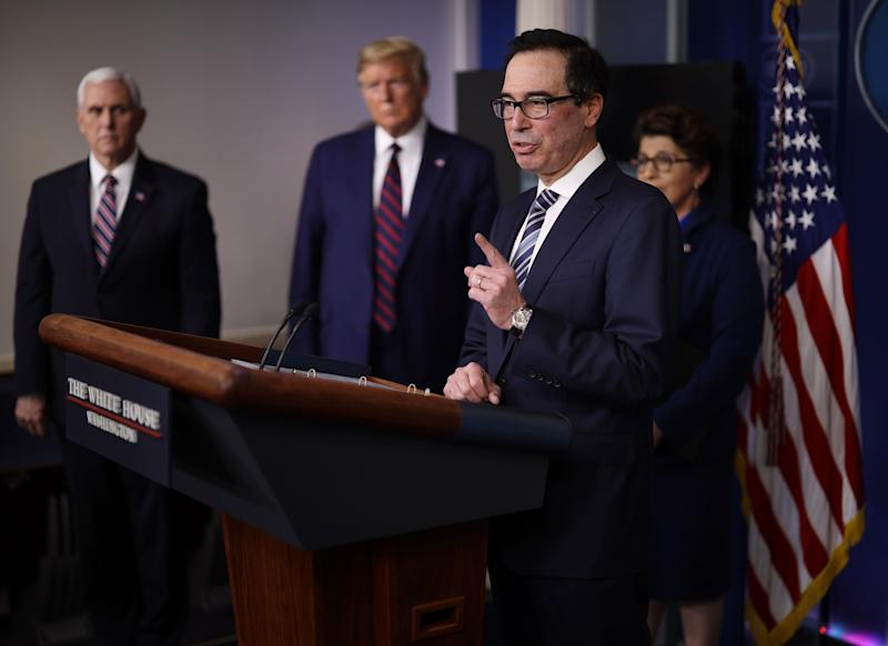 Treasury Secretary Steven Mnuchin speaks in the press briefing room with President Donald Trump, Vice President Mike Pence and Small Business Administrator Jovita Carranza on 2 April, 2020: Photo by Win McNamee/Getty Images