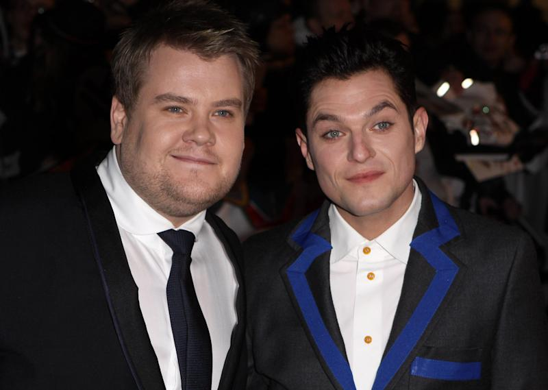 James Corden and Mathew Horne attends the BRIT Awards 2009 at Earl's Court on February 18, 2009 in London, England. (Photo by Fred Duval/FilmMagic)