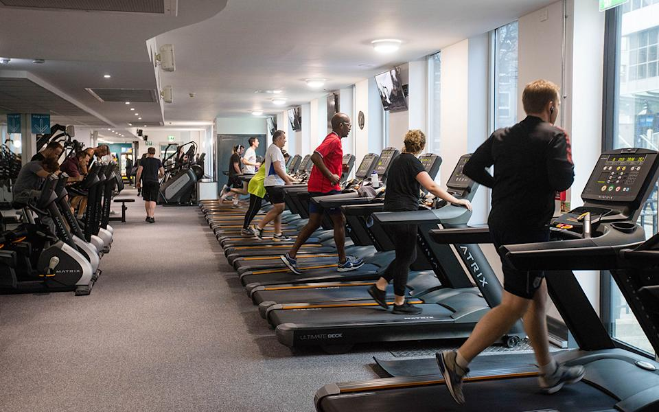 People run on treadmills to exercise during a work out session at a Pure Gym Ltd in London. Gyms in NSW are allowed to reopen on June 13, as Deputy Premier John Barilaro announced On June 2
