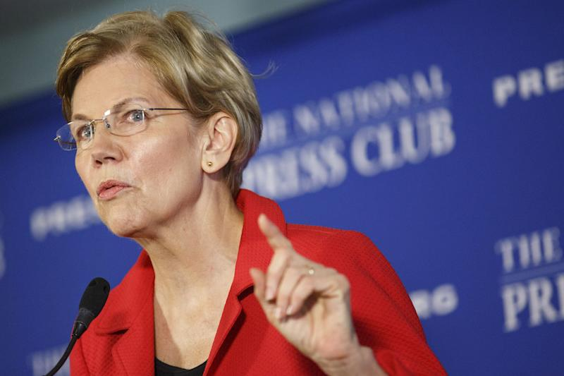 Sen. Elizabeth Warren speaks at the National Press Club in Washington, D.C., on Tuesday, Aug. 21, 2018. (Bloomberg/Getty Images)