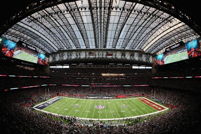 """The LSU vs. BYU game was scheduled for NRG Stadium, home of the <a class=""""link rapid-noclick-resp"""" href=""""/nfl/teams/hou/"""" data-ylk=""""slk:Houston Texans"""">Houston Texans</a> and Super Bowl LI. (Getty Images)"""