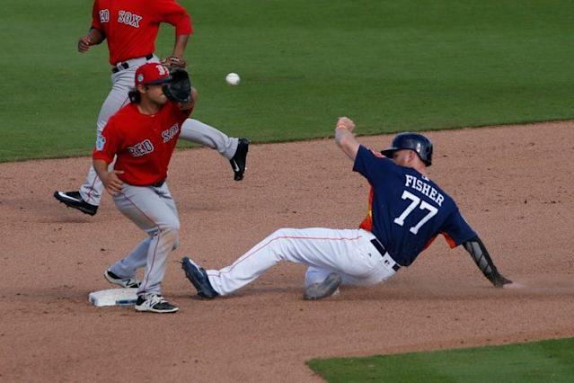 Derek Fisher, stealing bags in spring training. (Photo by Joel Auerbach/Getty Images)