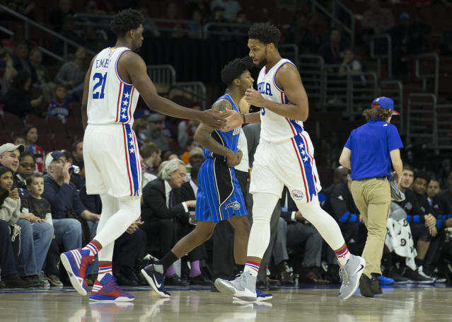 "<a class=""link rapid-noclick-resp"" href=""/nba/players/5294/"" data-ylk=""slk:Joel Embiid"">Joel Embiid</a> and <a class=""link rapid-noclick-resp"" href=""/nba/players/5434/"" data-ylk=""slk:Jahlil Okafor"">Jahlil Okafor</a> never meshed in Philadelphia. (Getty)"