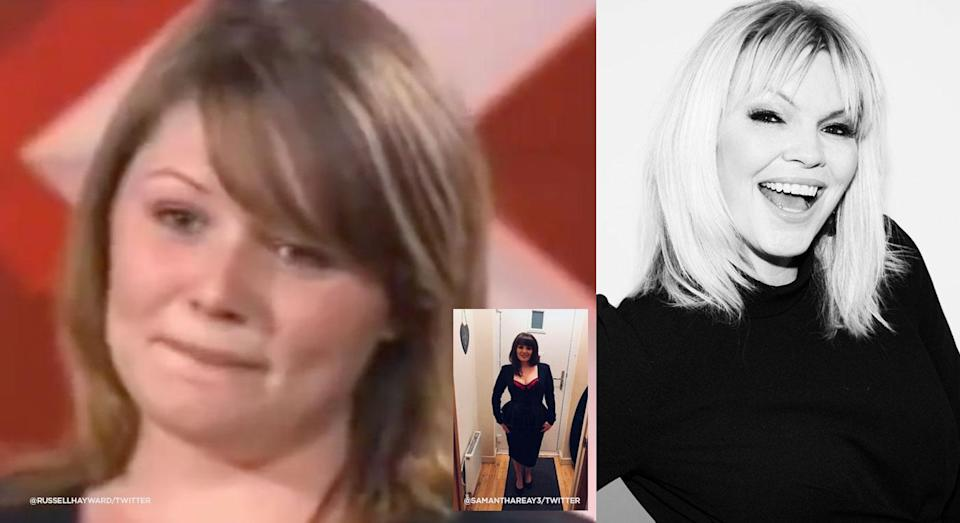 Kate Thornton (right) has issued a message of support for body-shamed X Factor contestant, Samantha Reay seen auditioning in 2004 (left) and a more recent image (inset)