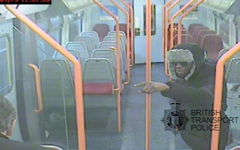 CCTV image Darren Pencille (right) and Lee Pomeroy in the train carriage - British Transport Police