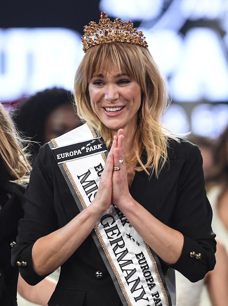 "15 February 2020, Baden-Wuerttemberg, Rust: Miss Schleswig-Holstein Leonie Charlotte von Hase is elected ""Miss Germany 2020"" at Europa-Park. 16 candidates took part in the beauty contest, which has been held since 1927. Photo: Patrick Seeger/dpa (Photo by Patrick Seeger/picture alliance via Getty Images)"