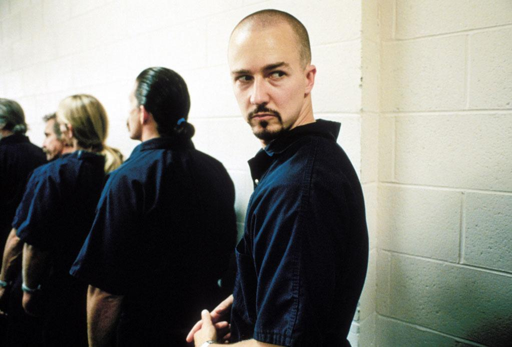 """<a href=""""http://movies.yahoo.com/movie/1800018632/info"""">American History X</a> (1998): Edward Norton just tears it up here, and duly gets much of the credit for the film's emotional heft. His intense performance as a former neo-Nazi skinhead earned him an Oscar nomination and further solidified his persona as an actor willing to dig deep for a role. But the entire cast in this harrowing drama is strong, including Edward Furlong as Norton's worshipful younger brother, Beverly D'Angelo as their mother and Ethan Suplee as a fellow neo-Nazi. Director Tony Kaye's film -- which Kaye wanted his name removed from in a bitter dispute over the final edit -- paints a complete picture of hatred and redemption as it moves back and forth between past and present."""