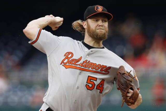 Baltimore Orioles starting pitcher Andrew Cashner (54) throws during the first inning of a baseball game against the Washington Nationals at Nationals Park, Wednesday, June 20, 2018, in Washington. (AP Photo/Carolyn Kaster)