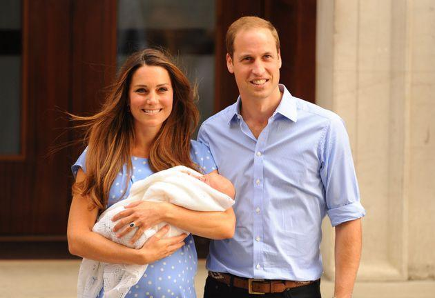 The Duke and Duchess of Cambridge leave the Lindo Wing of St Mary's Hospital with their newborn son, Prince George of Cambridge in 2013. (Photo: Dominic Lipinski - PA Images via Getty Images)