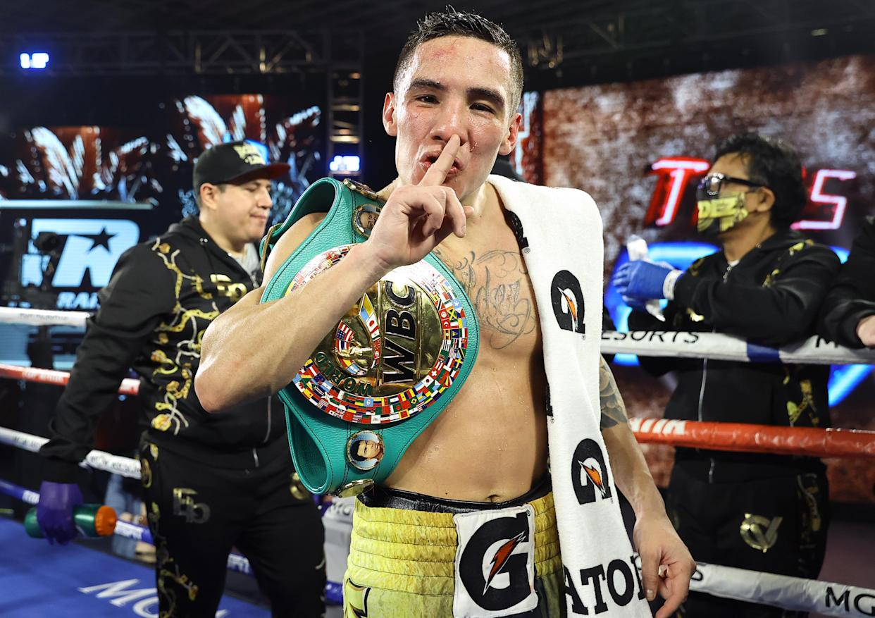 LAS VEGAS, NV - FEBRUARY 20: Oscar Valdez is victorious as he defeats Miguel Berchelt for the WBC super featherweight title at the MGM Grand Conference Center on February 20, 2021 in Las Vegas, Nevada. (Photo by Mikey Williams/Top Rank Inc via Getty Images)