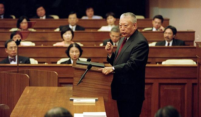 Then-chief executive Tung Chee-hwa delivers his policy address at the Legislative Council in 2001. Photo: Martin Chan