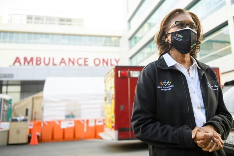 Dr. Elaine Batchlor, chief executive officer of Martin Luther King Jr. Community Hospital speaks outside the hospital's emergency department about the impact of the Covid-19 pandemic on January 6, 2021 in Los Angeles