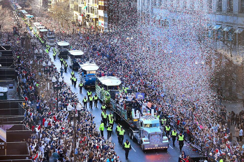 The New England Patriots celebrate their Super Bowl LIII victory with a parade in Boston on Tuesday. (Getty Images)
