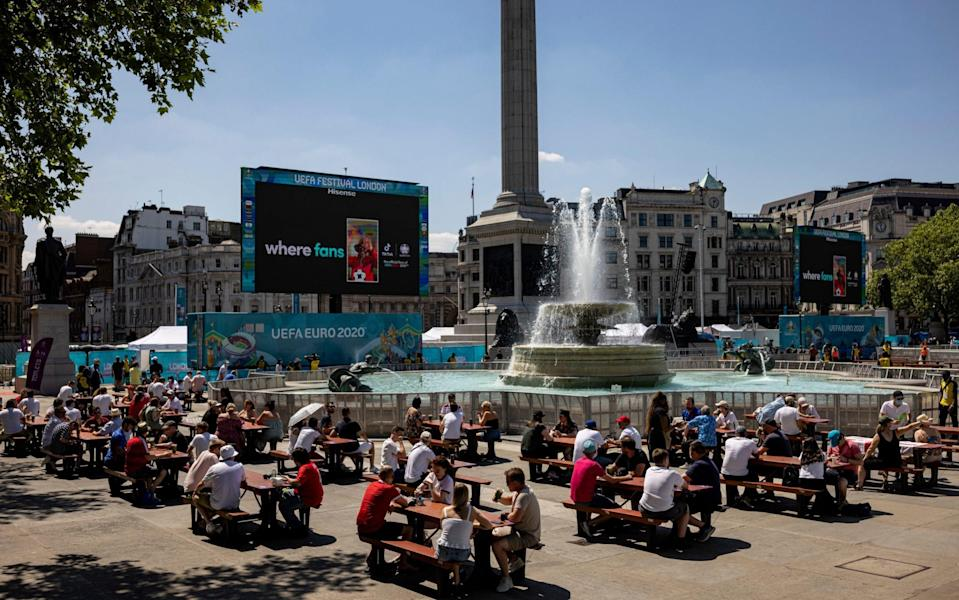 Key workers await the start of England's opening game against Croatia in a fanzone in Trafalgar Square on June 13, 2021 - Rob Pinney/Getty Images