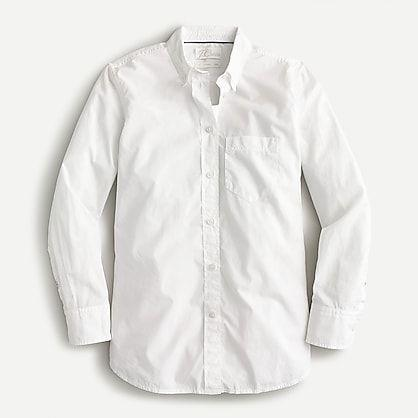 """<p><strong>J.Crew</strong></p><p>jcrew.com</p><p><strong>$79.50</strong></p><p><a href=""""https://go.redirectingat.com?id=74968X1596630&url=https%3A%2F%2Fwww.jcrew.com%2Fp%2FAW245&sref=https%3A%2F%2Fwww.townandcountrymag.com%2Fstyle%2Ffashion-trends%2Fg28904847%2Fbest-white-button-down-shirts%2F"""" rel=""""nofollow noopener"""" target=""""_blank"""" data-ylk=""""slk:Shop Now"""" class=""""link rapid-noclick-resp"""">Shop Now</a></p><p>So you're a minimalist who wants one white shirt that can do it all? Meet your closet's new best friend. Loose enough to look relaxed with a pair of jeans, dressy enough to add polish to a suit or skirt, it's a born multitasker. </p>"""