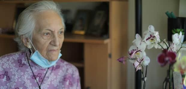 Olga Libaque is 90 years old and lives alone in Toronto. She relies on visits from personal support workers, but neither she nor many of them have been vaccinated yet.