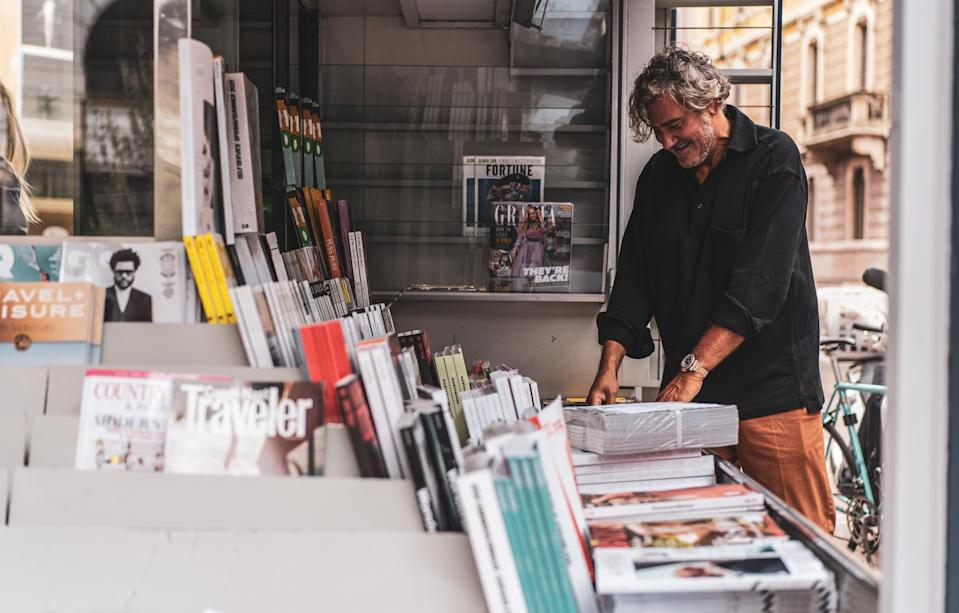 Fabrizio Prestinari at his newsstand in Milan's Largo Treves to be taken over by Graydon Carter's Air Mail. - Credit: Courtesy of Air Mail