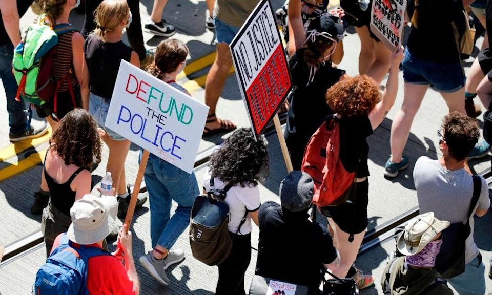 A defund the police march from King county youth jail to city hall in Seattle, Washington on 5 August 2020.