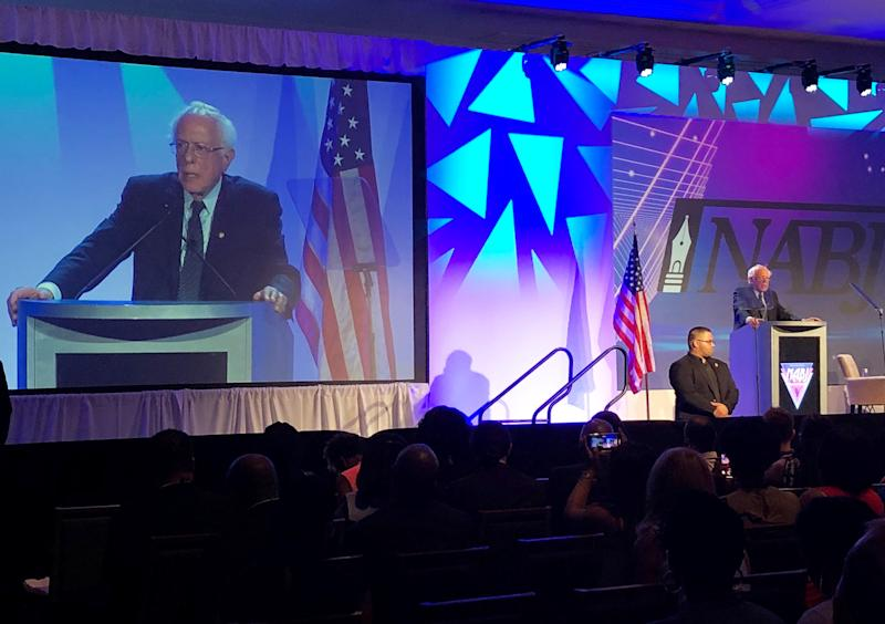 Democratic presidential nominee candidate Senator Bernie Sanders addresses the National Association of Black Journalists convention in Aventura, Florida, U.S. August 8, 2019. REUTERS/Conway Gittens