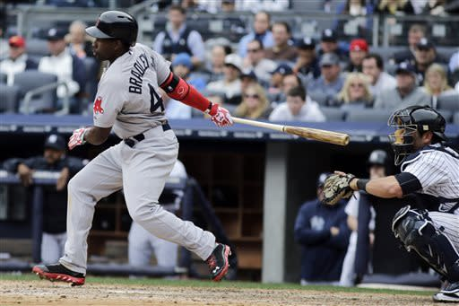Boston Red Sox's Jackie Bradley Jr., left, follows through after hitting a run-scoring ground out as New York Yankees catcher Francisco Cervelli looks on during the seventh inning of an opening day baseball game, Monday, April 1, 2013, in New York. (AP Photo/Matt Slocum)