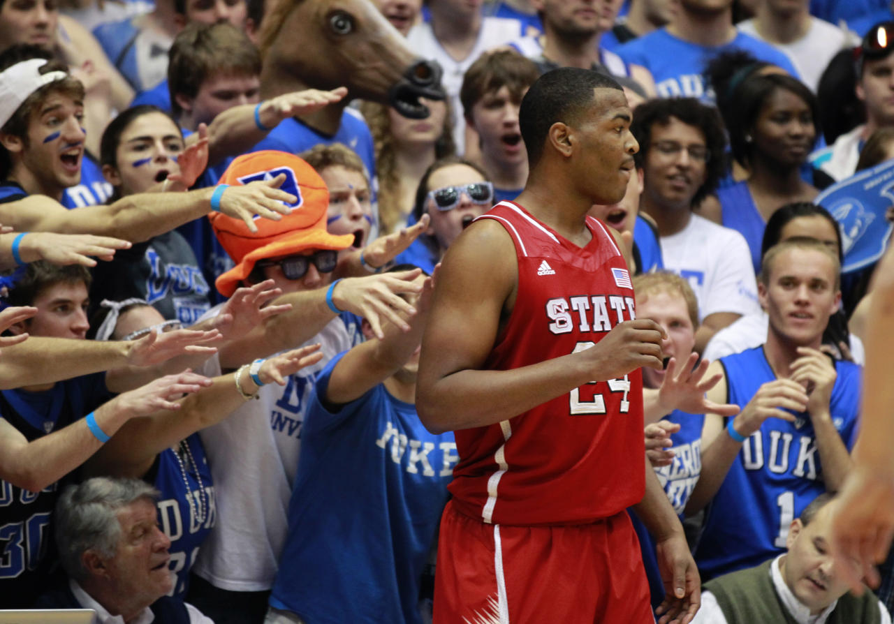 N.C. State's T.J. Warren (24) waits to inbound the ball while Duke fans try to distract him during the first half against Duke at Cameron Indoor Stadium in Durham, North Carolina, Thursday, February 7, 2013. (Ethan Hyman/Raleigh News & Observer/MCT via Getty Images)