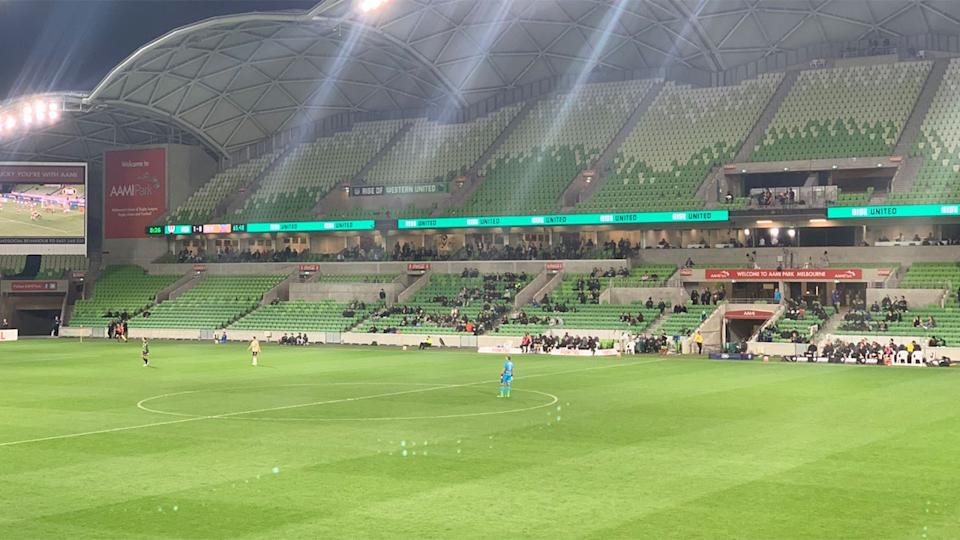 Seen here, a wide shot of a largely empty AAMI Park on Monday night.
