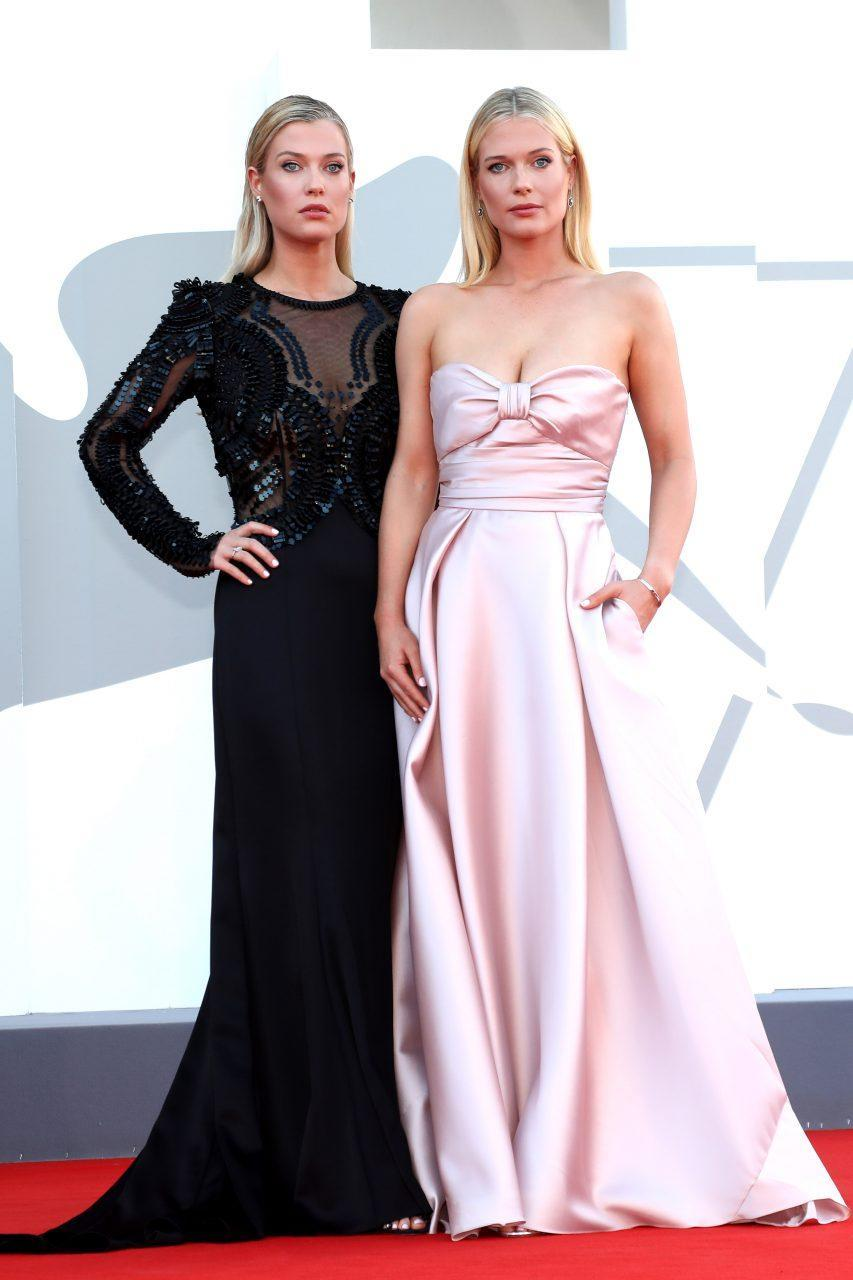VENICE, ITALY - SEPTEMBER 01: Lady Amelia Spencer and Lady Eliza Spencer attend the red carpet of the movie 'Madres Paralelas' during the 78th Venice International Film Festival on September 01, 2021 in Venice, Italy. (Photo by Franco Origlia/Getty Images)