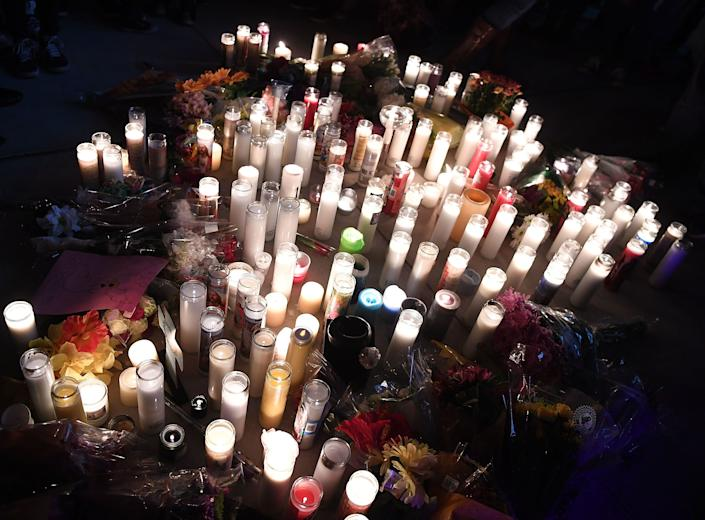 Candles make up a large vigil on the Las Vegas Strip.