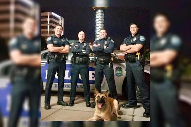 Knoxville Police Department officers, left to right, are Brayden Hansen, Sgt. Samuel Henard, Garrett Fontanez, and Christopher Medina. (Photo: Facebook/Knoxville Police Department)