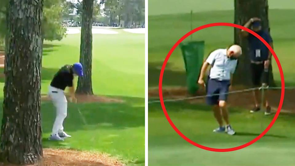 Rory McIlroy (pictured left) hitting a shot at The Masters and the ball hitting his father, Gerry, (pictured right).