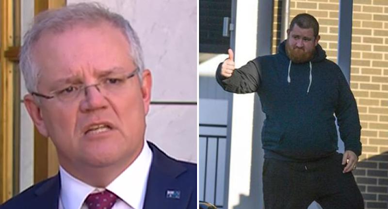 Pictured is Scott Morrison (left) and the homeowner (right) telling him to get off his grass.