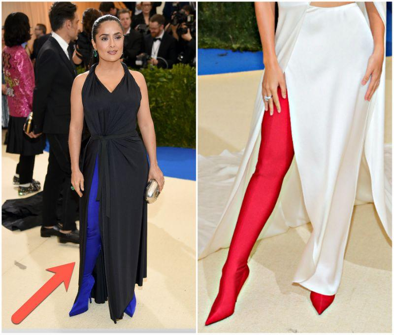 "<p>Why buy separate pants and shoes when you can have both? Rihanna, Kim Kardashian and supermodel Lily Aldridge have each been spotted donning the hybrid shoe-pant fashion item on red carpets this year. Salma Hayek (photo left) stepped out wearing electric blue Balenciaga shoes at the Met Gala. <a rel=""nofollow"" href=""https://www.balenciaga.com/Item/Index?suggestion=true&sitecode=BALENCIAGA_GB&cod10=54125476tc"">Balenciaga</a> sells them, but it'll set you back about CAD $3,100. <em>(Photos: Getty)</em> </p>"