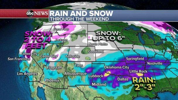 PHOTO: These storm systems will bring 2 to 4 feet of snow from Sierra Nevada mountains in California and 1 to 3 inches of rain from coastal California (ABC News)
