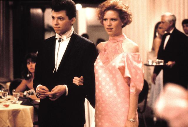 1986: Jon Cryer and Molly Ringwald in the film <em>Pretty in Pink</em>. (Photo: Everett Collection)