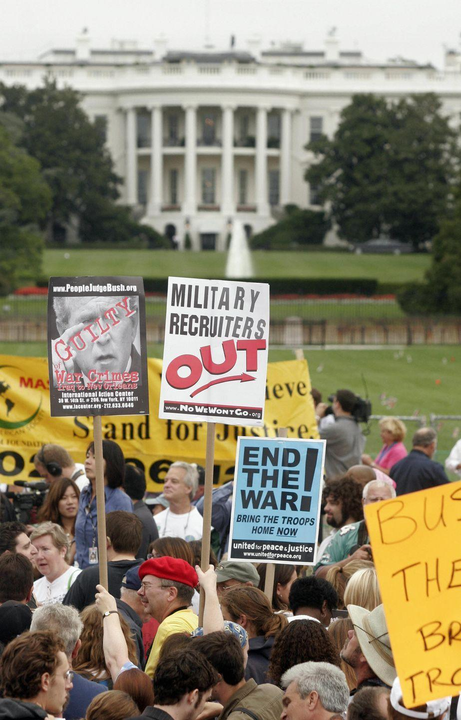 <p>Protestors made a variety of anti-war signs, while demonstrating for the end of the Iraq War. </p>