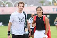 <p>Andy Murray and Emma Raducanu are all smiles at the BNP Paribas Open Tennis Tournament on Oct. 7 in Indian Wells, California. </p>